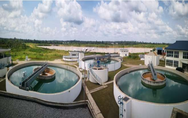 Aerial View Of The Akim Oda Water Treatment Plant: 35,000m3 (About 8 Million Gallons) Per Day Capacity