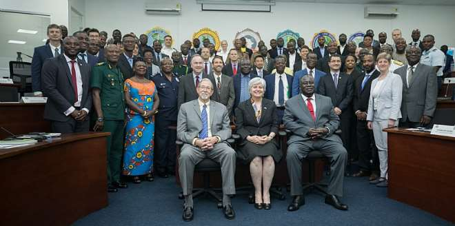 Participants at the meeting including U.S. Ambassador to Ghana Stephanie S. Sullivan; Ghanaian National Security Coordinator, Joshua Kyeremeh; and retired U.S. Ambassador Michael Arietti, who serves as the U.S. Government's SGI Ghana Head of Delegation, seated in the front row