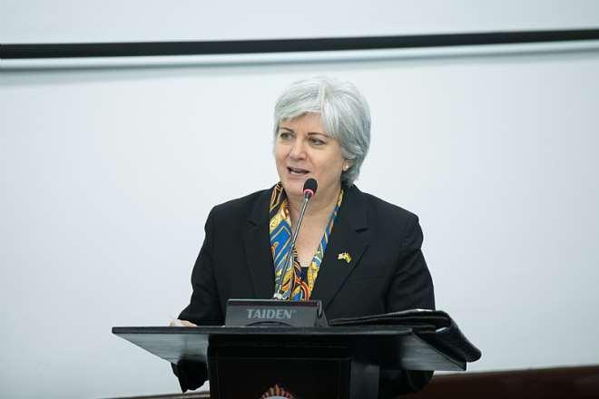 U.S. Ambassador to Ghana Stephanie S. Sullivan delivering her remarks.