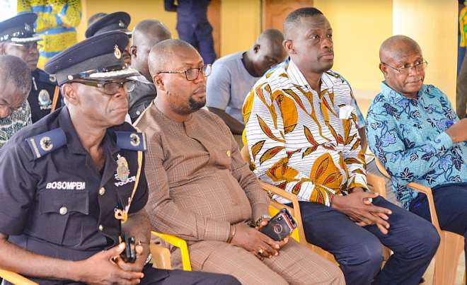 From left to right, Deputy regional commander of police, Prestea /Huni-valley MCE, Regional Minister and Regional chief director