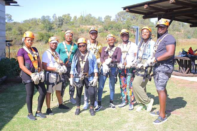 The Team About To Go Ziplining At Cullinan In Pretoria