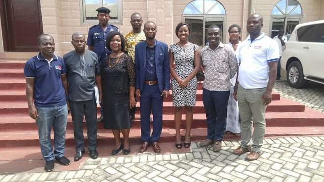 Project Team with duty bearers (Municipal Chief Executive, Municipal Coordinating Director, and Municipal Budget Officer) in Nsawam-Adoagyiri