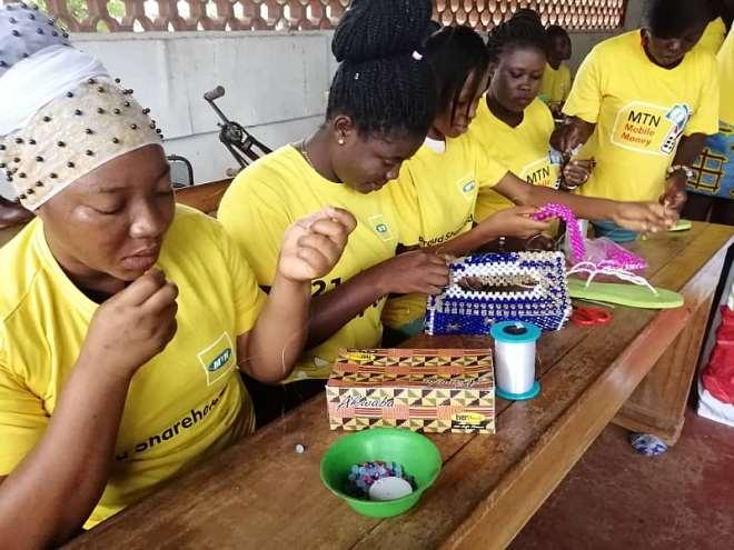 618201993826 vbqduhgtsn beneficiaries practicing their skills during the bead training in sunyani 3