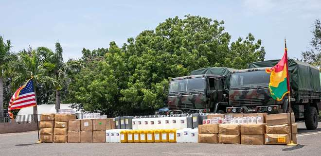 The supplies to be donated to Kumasi South Hospital in the Ashanti Region and the Effia Nkwanta Regional Hospital in the Western Region, valued at over 430,000 cedis at Burma Camp Donation August 2020-4