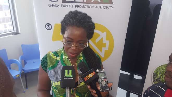 GEPA CEO, Akua Asabea Asare interracting with the media