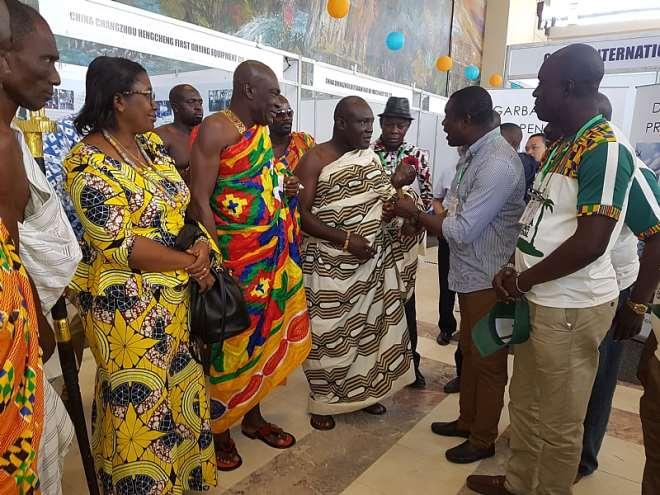 Africa Coconut Group President, Davis Korboe, welcoming Osahen Katekyi Busumakura to the first International Coconut Festival in Accra