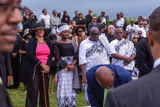 From left: Mrs Ronita Teye Botchwey, spouse of the deceased, Mrs Matilda Alomatu Osei-Agyeman, Head of Chancery, Ghana High Commission UK, HE Papa Owusu-Ankomah, Ghana High Commissioner to UK and Honourable Mohammed Habib Tijani paying their last respect to Dr Teye Botchwey.
