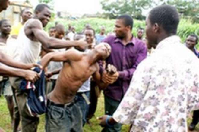 9. AN ALLEGED PICK-POCKET BEING SUBJECTED TO SEVERE BEATINGS