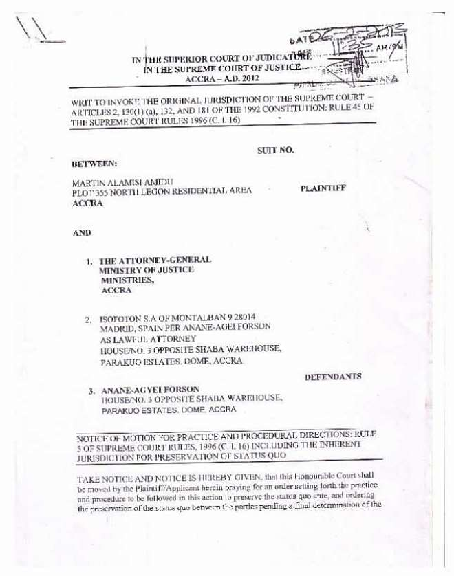 amidu v isofoton  application for status quo page 01