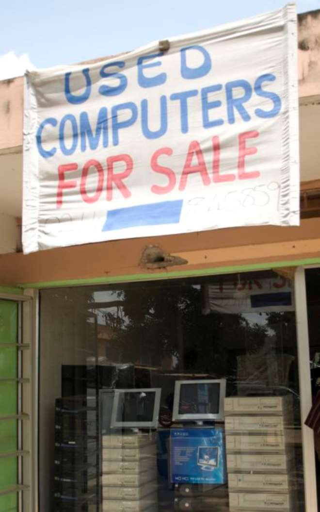 One of scores of second-hand computer shops on Darkuman Road, the western outskirts of Accra, Ghana