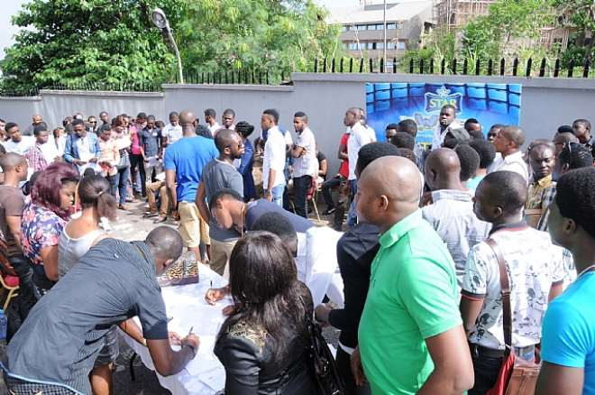 CROSS SECTION OF CONTESTANTS REGISTERING FOR  AUDITIONS