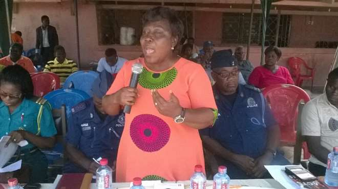 Director Of Mankessim Social Welfare Department, Mrs. Felicia Ankrah Halm Delivering A Speech At The Forum
