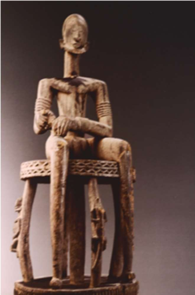 MASCULINE FIGURE, SEATED ON A STOOL, TINTAM, MALI, NOW IN MUSéE DES BEAUX-ARTS, MONTREAL, CANADA