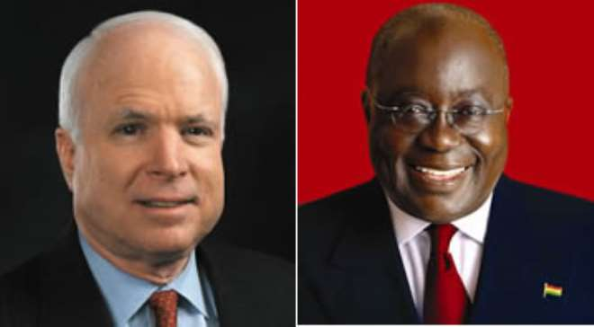 McCain of the Republican Party Nana Addo of the New Patriotic Party