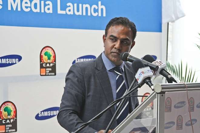MR.VISHWAS SAXENA, BUSINESS LEADER FOR EXPORTS, SAMSUNG GHANA, BRIEFING THE MEDIA DURING THE SAMSUNG FAN ZONE MEDIA LAUNCH