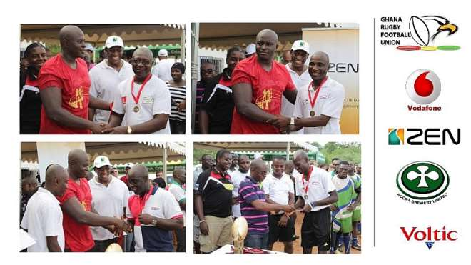 Special awards were also handed out by the Vice President of the GRFU, Mr. Ernest Hanson, to certain individuals who walked an extra mile to make the 2014/15 Ghana Rugby Club Championship a success. (1) Mr. Steve Noi, Tournament Commissioner (2) Mr. Abdul Aziz Isa, General Secretary of the Greater Accra Rugby Association (GARA) (3) Mr. George Ladipo, National Technical Director of the GRFU (4) Mr. Bright Dzameshie, President of GARA, also showed appreciation to the match officials who made sure that the GRCC was conducted in the spirit of fair play.