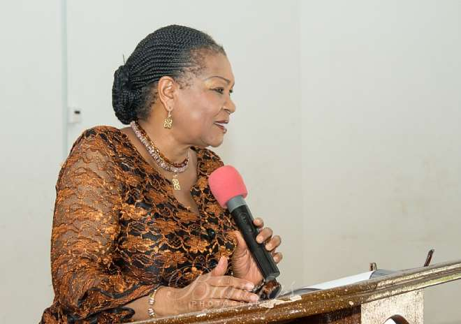 REV. DR. JOYCE ARYEE€€Œ FORMER CEO OF THE GHANA CHAMBER OF  MINES AT THE LAUNCH OF DLFC AT LEGON