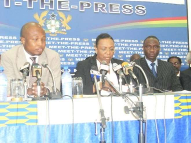 Mrs Betty Mould Iddrisu, Attorney General and Minister of Justice (middle) addressing  the press with her is Mr Samuel Okudzeto-Ablakwa, Deputy Minister of Information (left), Mr Suleiman Ahmed, Acting Chief Director of Ministry of Justice (right).