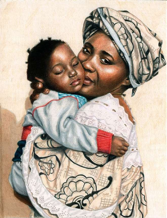 An African Woman With A Child