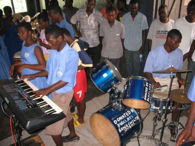 students from the akropong school during a band      performance