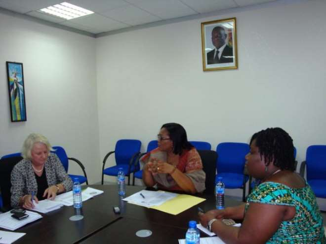 . Jan Beagle, Deputy Chief Executive Director of UNAIDS (left) in a meeting with Dr. Angela El-Adas, Director General of the Ghana AIDS Commission (middle) and Nana Oye Lithur, a member of the Governing Board of the Commission.