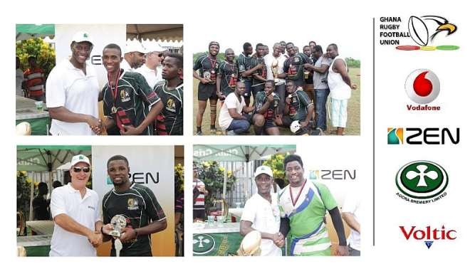 Various awards were up for grabs on the event of the 2014/15 Ghana Rugby Club Championship (1) Mr. Herbert Mensah, President of the GRFU, handed out the medals and tournament trophy to the winning team, Cosmos Buffaloes RFC. (2) Mr. Herbert Mensah joins some of the Cosmos Buffaloes team members who proudly displayed their medals and the tournament trophy. (3) A management member of one of the sponsors, Zen Petroleum, handed the Most Valuable Player (MVP) award to Hamza Diaba Suleimana of Cosmos Buffaloes. (4) P.R. Guru and Law Barrister, J. Chester Anie, handed out the medals to members of the runners-up, Idas Sports RFC.