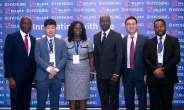 Left to Right:- Olufemi Muraino, Executive Director, Inlaks; Shaun Lim, Sales Representative (Africa), Hyosung; Yacoba Amuah, Head, Sales & Strategy, Inlaks, Tope Dare, Executive Director, Inlaks; Hosoo Lee, Manager Africa Sales; Olufunmilayo Okubena, Country Manager, Inlaks.