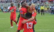 Kjetil Zachariassen celebrating with his players after beating Kano Pillars 2-0