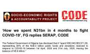 'How we spent N31bn in 4 months to fight COVID-19', FG replies SERAP, CODE