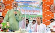 Photo Asia:Writer and Journalist Dr. Homen Borgohain Delivering His Speech During A Bihu Function Held At Bor Amri Along Nagaon-Karbi Anglong District Border Of Assam On Tuesday (April 30, 2013)