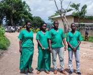 Four Iwacu journalists are seen at the High Court in Bubanza, western Burundi, on December 30, 2019. CPJ today joined a call for their release. (AFP/Tchandrou Nitanga)