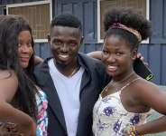 FILE — Comedian Waris (middle) on set with two actresses in Ghana