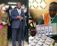 President Ouattara and wife after voting and Ballot of the four presidential candidates