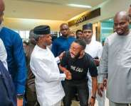 VP Yemi Osinbajo Stroms Ikeja Cinema to Watch Woli Arole's Movie