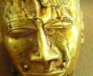 Gold mask, 20 cm in height, weighing 1.36 kg.of pure gold, seized by the British from Kumasi, Ghana, in 1874 and now in the Wallace Collection, London, United Kingdom.