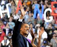 Barack Obama campaigning ahead of the historic election