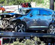 Damage suffered to Tiger Woods' car in a crash in Los Angeles