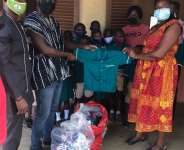 NPP stalwart donates uniforms, PPE to Sunyani West Schools