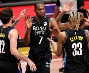 Kevin Durant (seven) was one of seven Brooklyn players to score double figures against New Orleans