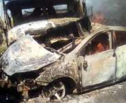 One of the burnt accident vehicles