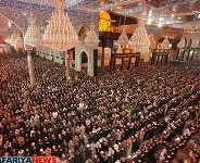 A scene of of people mourning inside tomb of Hazrat Imam Husain at Karbala