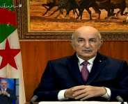 Algeria's President Abdelmadjid Tebboune dissolved parliament and called for early elections in a speech to the nation broadcast on state television.  By - (Algerie 3/AFP)