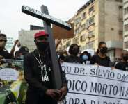Police claim Silvio Dala, 35, suffered a heart attack after he was arrested for driving without a face mask on September 1.  By Osvaldo Silva (AFP)