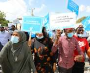 Supporters of different opposition presidential candidates demonstrate in Mogadishu on February 19, 2021.  By - (AFP/File)