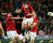 The British and Irish Lions in action against the All Blacks in 2017.  By MICHAEL BRADLEY (AFP/File)