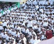 The stadium in Gitega where the funeral ceremony is to be held was packed with citizens from across the country, all dressed in white at the request of authorities.  By TCHANDROU NITANGA (AFP)
