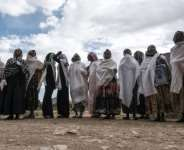 Women gather to mourn the victims of a massacre allegedly perpetrated by Eritrean soldiers in the village of Dengolat, north of Mekele, the capital of Tigray, on February 26, 2021.  By EDUARDO SOTERAS (AFP/File)