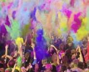 People celebrating Holi festival in India.