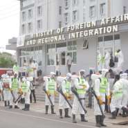 The disinfection team ready to commence the exercise at the Ministry of Foreign Affairs