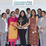 Columbia Asia Hospital Sarjapur Road team sshowcasing the Express Healthcare 2019 award